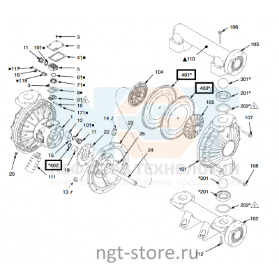 Ремкомплект диафрагма Husky 1590 SP Graco