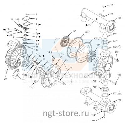 Ремкомплект диафрагм для Husky 2150 BN