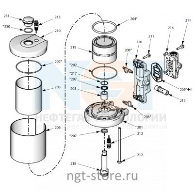 Ремкомплект пневмодвигателя Mini Merkur ES 30:1 Graco Грако